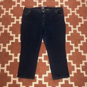Woman Within 30W dark wash straight leg jeans
